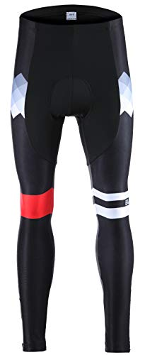 (Balnna Men's Cycling Bike Pants 4D Padded Long Bicycle Compression Tights Biking Leggings Breathable Trousers-red-s)