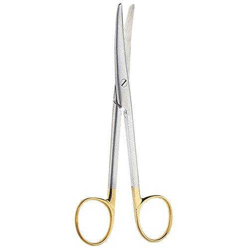 V. Mueller SU1804-002 Vital Mayo Dissecting Scissor, Straight, Round Blades, Tungsten Carbide, Cutting Edges, 6-3/4