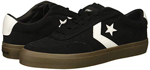 Converse Men's Courtlandt Suede Leather Accent Low Top Sneaker, Black/White/Brown, 9 M US