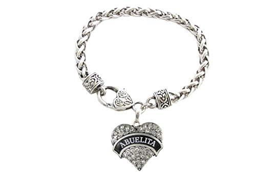 Abuelita Crystal Heart Silver Lobster Claw Bracelet Jewelry Abuela Grandmother