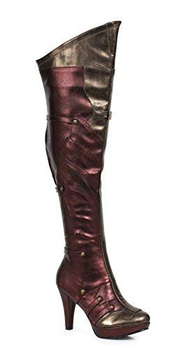 Ellie Shoes 4 Inch Womens Thigh High Boot (Red/Gold;11) -