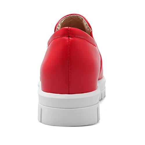 AllhqFashion Damen Niedriger Absatz Rein Ziehen auf Weiches Material Rund Zehe Pumps Schuhe Rot