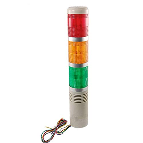 AC/DC 24V Red Green Yellow LED Bulb Industrial Tower Signal Light Buzzer by Auxcell