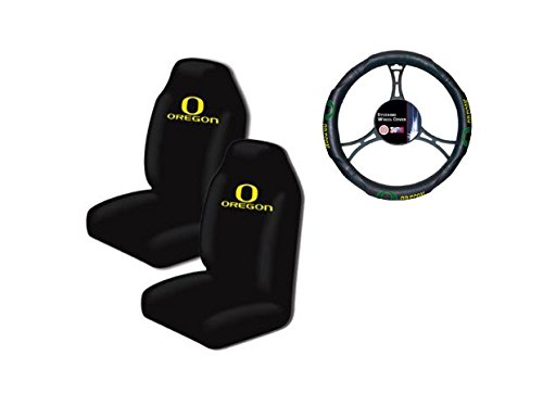 A set of 3 Piece Automotive Gift Set: 2 Highback Seat Covers and 1 Wheel Cover - Oregon State Ducks -