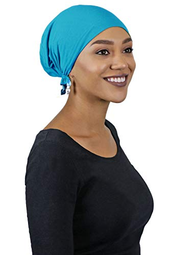 (Cancer Headwear for Women Head Scarves Coverings Chemo Scarfs Pretied Cotton Celeste (Turquoise))