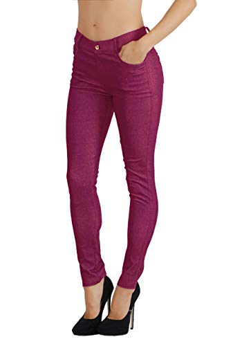 - Fit Division Women's Jean Look Cotton Blend Jeggings Tights Slimming Full Lenght Capri Bermuda Shorts Leggings Pants S-3XL (M US Size 6-8, FDJN827-PLM)
