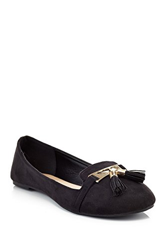 Eddie Marc Extreme Womens 5408 Regular Tassel Slip On Chunky Heel Loafer Shoes Black zqKo0o