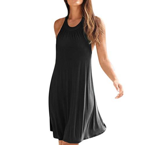 NEARTIME Loose Maxi Dress- Bohemian Halter Dress for Women Sleeveless Backless Solid Knee Length Casual Mini Dress