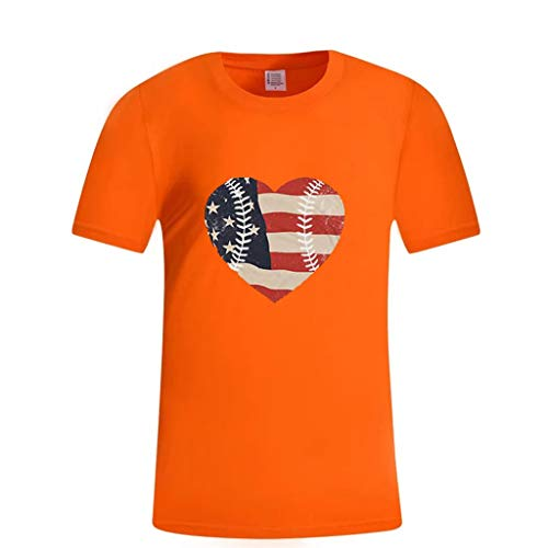 Zlolia Men's Heart Shaped American Flag Print T-Shirt Round Neck Muscle Build Tactical Tee New July 4th Patriotic Tops