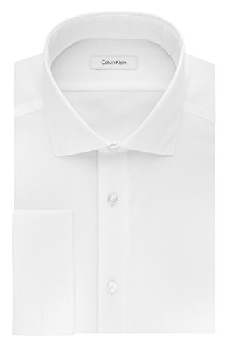Calvin Klein Men's Non Iron Slim Fit Herringbone French Cuff Dress Shirt, White, 16.5