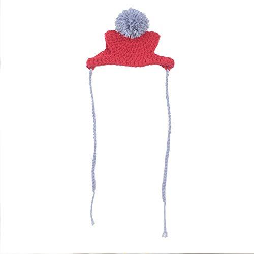Fighrh Pet Teddy Dog Cap Pet Winter Hat Funny Cute Knit Cap Pet Dog Headwear Pet Insulation Cap Pet Hand Knit Cap Pet Outdoor Activity Decorative Headwear (Color : Red)