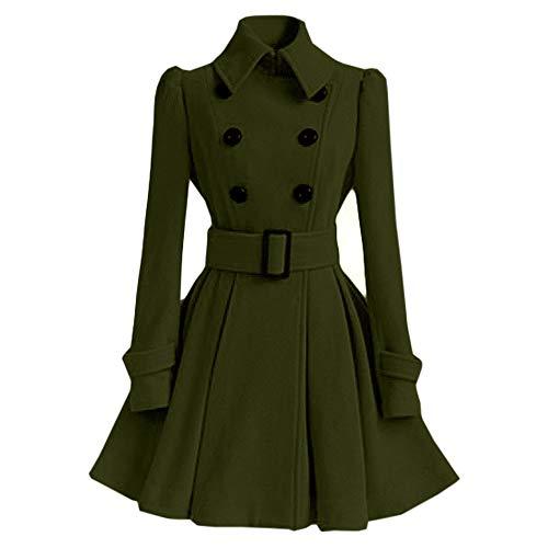 Women Coats Jackets LuluZanm Winter Warm Women Trench Parka Jacket Belt Overcoat Outwear Woolen Coat (S, Army Green) ()