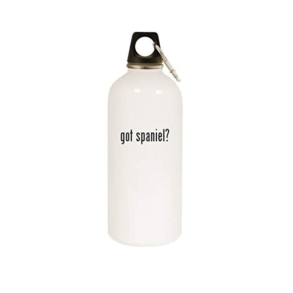 got spaniel? - 20oz Stainless Steel White Water Bottle with Carabiner, White 1