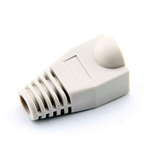 CATVSCOPE 10 Pcs White Soft Plastic CAT5E CAT6 Ethernet RJ45 Cable Cap Connector Boots Plug Cover Strain Relief Boots (White)