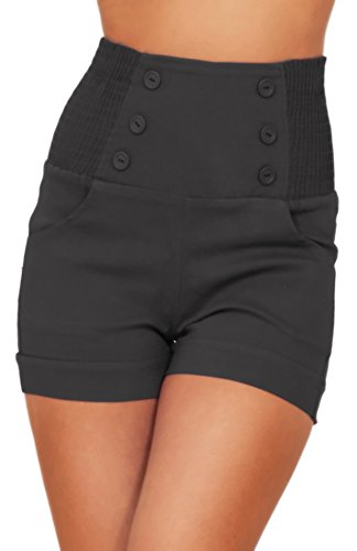 (HOT FROM HOLLYWOOD High Waisted Sophisticated Trendy Chic Front Button Vintage Inspired Shorts)