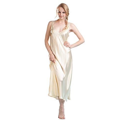 (La Cera Women's Silk Gown Medium Ivory)