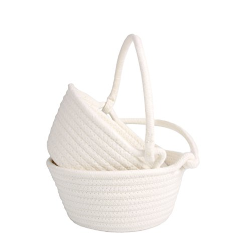 LOONG BABY Set of 2 Home Storage Baskets Nesting Bins Cotton Rope Storage Bin, Handmade Box with Handles for Household Kids (White)