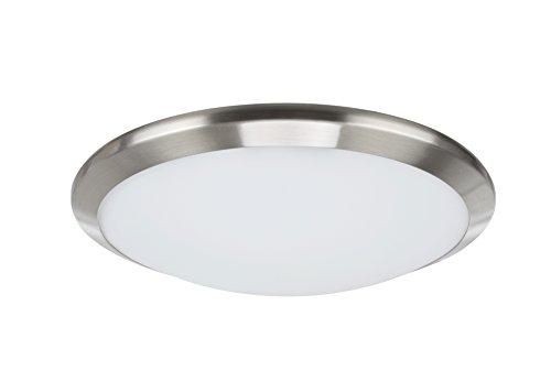 (Aspen Creative 63003S-1 Small LED Flush Mount in a Satin Nickel Finish with Glass Shade)