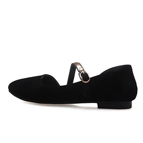 BalaMasa Black Shoes Urethane Ladies Flats Heels Pointed Square Buckle Toe RnxRw8rZzq