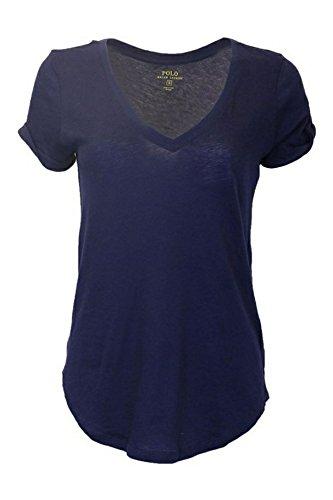 Polo Ralph Lauren Womens V-neck Tee Shirt Top (Medium, NWT Navy) (Lauren Polo Top Ralph)