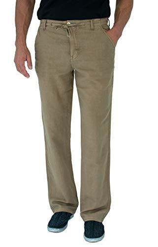(Short Fin Men's Drawstring Linen Pants with Elastic Waist (Coconut 30X32 L8020) )