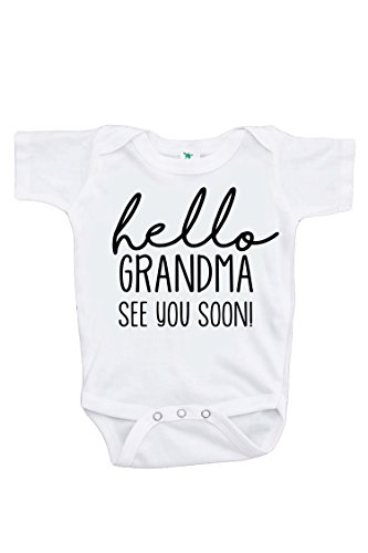 7 ate 9 Apparel Pregnancy Announcement Onepiece - Hello Grandma White