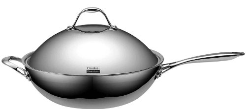 Cooks Standard Stainless Steel Multi-Ply Clad Wok, 13″ with High Dome lid, Silver