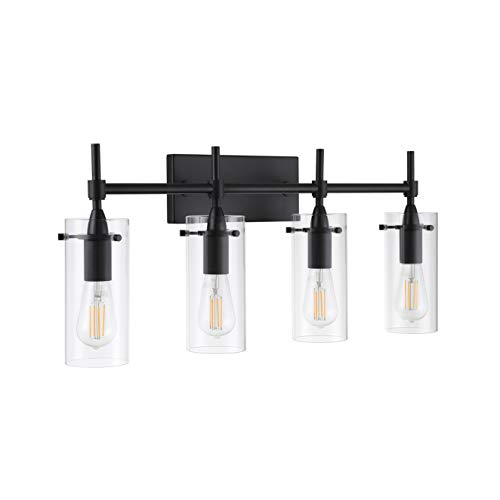 Effimero 4 Light Bathroom Vanity Light | Black Hallway Wall Sconce - Barn Bathroom Lights Mirrors For Black
