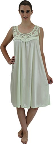 Venice Women's Silky Looking Nightgown w Sequins & Ribbon Roses F4 Pistachio XL