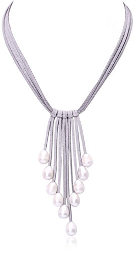 Pearl Pendant Necklace on Multi Strands Suede Cord Tassel Jewelry for Women by Aobei 18'' Grey ()