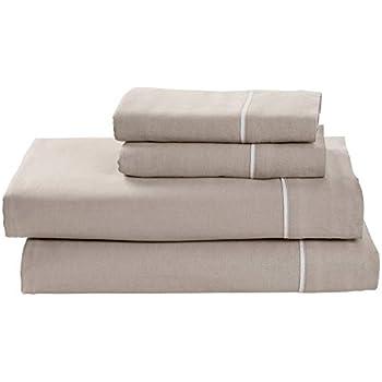 Rivet Contrast Hem Breathable Cotton Linen Bed Sheet Set, California King, Mushroom / White