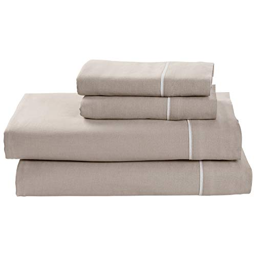 (Rivet Contrast Hem Breathable Cotton Linen Sheet Set, California King, Mushroom/White )