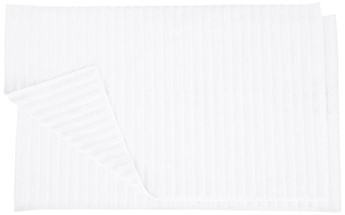Superior Striped Bath Mat 2-Pack, 100% Combed Cotton, Luxury Spa Ribbed Texture, Durable and Washable Bathroom Mats - White, 22