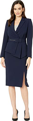 Tahari by ASL Women's Pebble Crepe Skirt Suit with Draped Jacket Navy 6 -