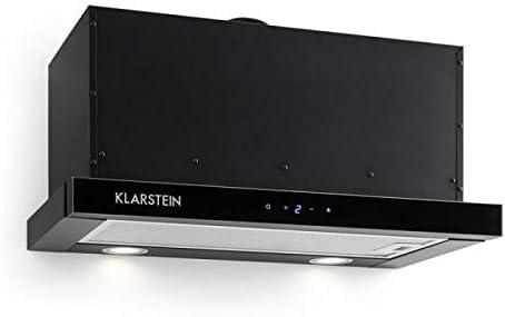 Klarstein Vinea Smart Edition - Campana extractora, Extractor de humos bajo mueble, Vidrio seguridad, 610m³/h, Ancho 60cm, 3 niveles, Filtro de grasa, Diseño inteligente, Clase A, Negro