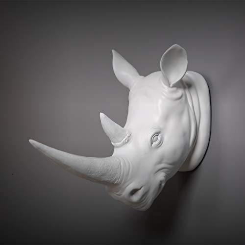Exotic Rhinoceros Head Bust Figurine Animal Statues Resin Art & Craft Wall Hanging Home Decorations ()