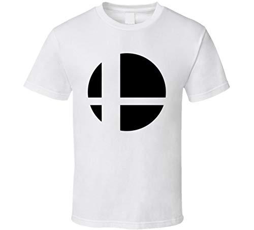 White Bro T-shirt (Super Smash Bros Logo Gaming Video Game T Shirt L White)