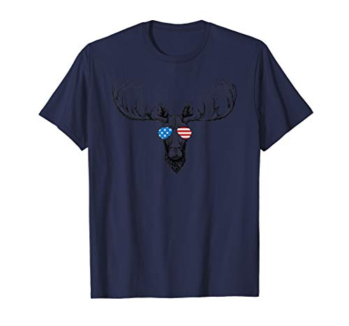 Cool Moose Patriotic USA Flag Aviator Glasses Design T-Shirt -