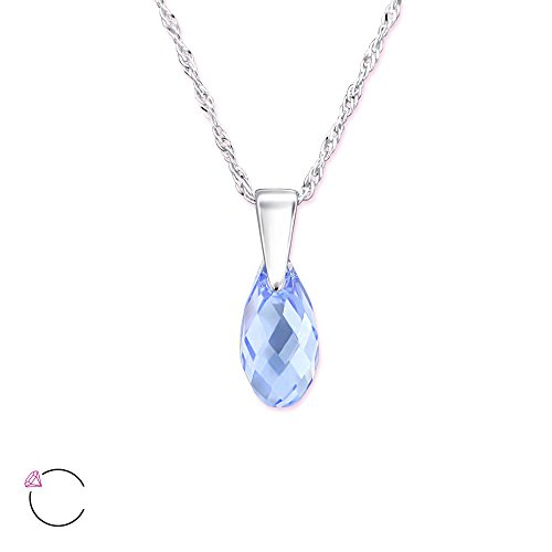Atik Jewelry Silver Teardrop Necklace With Swarovski Crystal - Light Sapphire Light Sapphire Necklace