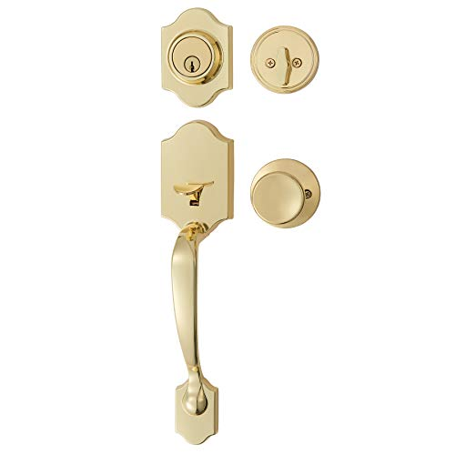 AmazonBasics Handleset with Tulip Knob - Single Cylinder - Polished Brass