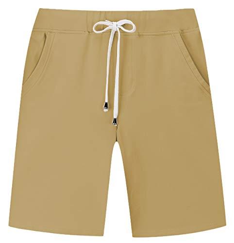 Janmid Men's Casual Classic Fit Cotton Elastic Jogger Gym Shorts (Khaki, M)