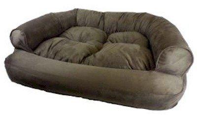 Snoozer Luxury Micro Suede Overstuffed Pet Sofa in Olive