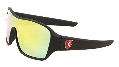 Khan Soft Rubber Oversized Shield Wrap Around Sunglasses (Black & Red Frame, Yellow Flash Mirror)