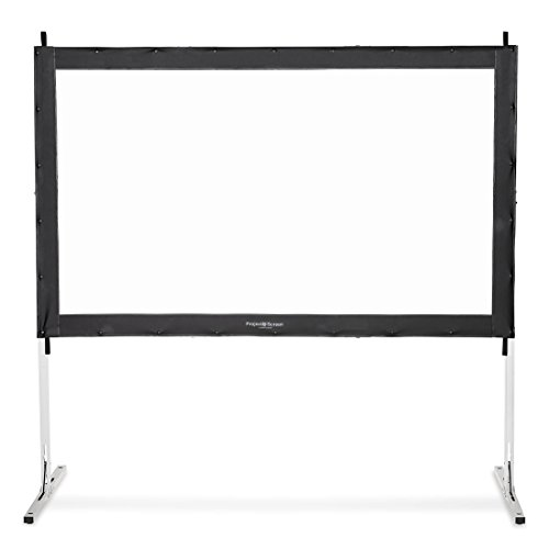 Visual Apex Projector Screen 110HD Portable Indoor/Outdoor Movie Theater Fast-Folding Projector Screen with Stand Legs and Carry Bag HD4K 16:9 format