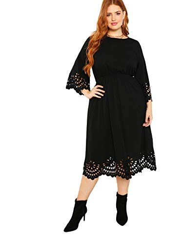 ROMWE Women's Plus Laser Cut Out Solid Scallop A-line Dress Black 2XL
