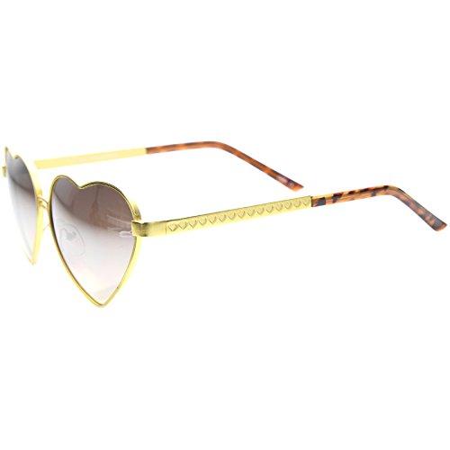 50c6ed44d9654 zeroUV - Womens Cute Fashion Wire Metal Inset Lens Love Lolita Heart Shaped  Sunglasses (Gold