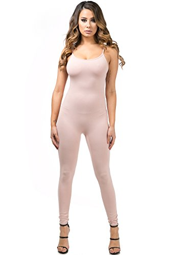 Staand Apparel Womens Sexy Spaghetti Strap Catsuit Unitard Tank Jumpsuit - One Piece Bodysuit Rompers Playsuit Party (Small, (Pink Catsuit)