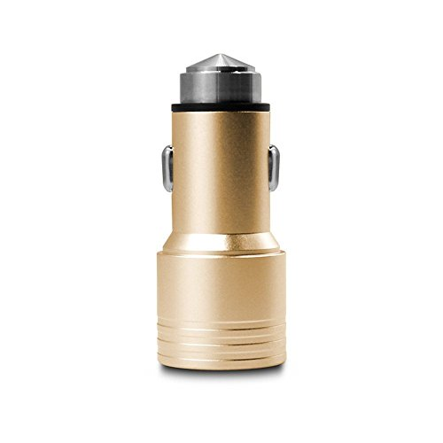 Car Charger,LAQIYA 3.1A Dual USB Ports Car Charger with Car Escape Emergency Safety Hammer Function (Gold)