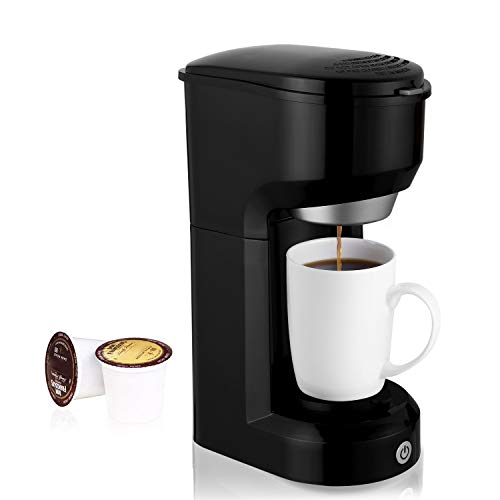 Ruyiot Single Serve Coffee Maker, Multi-Use Home Coffee Brewer 420ML with One-Touch Button for Most Single Cup Pods,Quick Brew Technology, 1000W