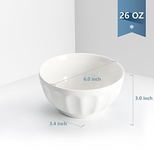 Sweese 1108 Porcelain Fluted Bowl Set - 26 OZ Deep and Microwavable for Cereal, Soup - Set of 6, White by Sweese (Image #3)